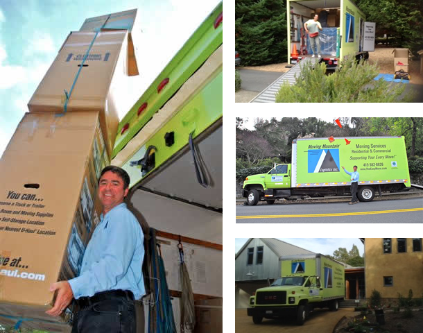 Sean Morris, owner of Moving Mountain, Marin Mover, Moving Specialist for Moving Mountain, folds pads.